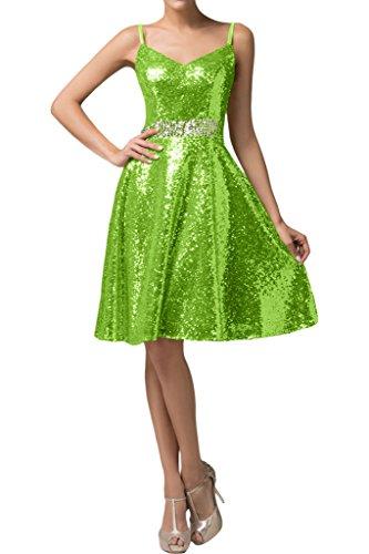 missd ressy Donna A linea di paillette breve istituzione Pieghe Party Dress abito da cocktail dress Verde