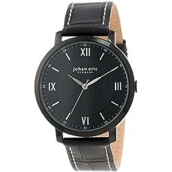 Johan Eric Koge Round Stainless Steel Black Genuine Leather Armbanduhr