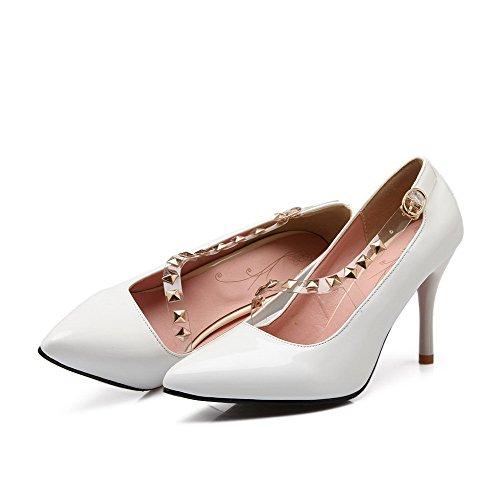 VogueZone009 Femme Pointu Tire Pu Cuir Mosaïque à Talon Haut Chaussures Légeres Blanc