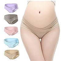 William & Winnie 5 PCS Women's Under The Bump Cotton Maternity Underwear Healthy Hipsters Panties Multicolor-L
