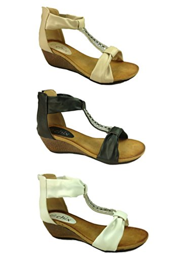 Foster Footwear , Barre en T fille femme 2873:Beige