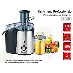 Hoomei Centrifugeuse Extracteur de jus à froid 850 W 1,7 litres Centrifugeuse pour fruits et légumes 2 récipients Fonction anti-obstruction Acier inoxydable