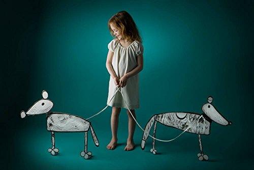 """Kunstdruck / Poster: Eva Miliuniene """"Girl with her dogs"""" - hochwertiger Druck, Bild, Kunstposter, 90x60 cm"""