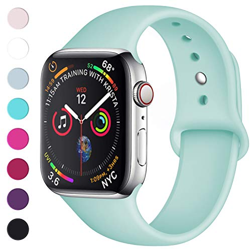 Lerobo Sport Correa para Apple Watch Correa 38mm 42mm 40mm 44mm, Pulsera de Repuesto de Silicona Suave Correa para Apple Watch Series 4, Series 3, Series 2, Series 1, 42mm/44mm S/M Mar Azul
