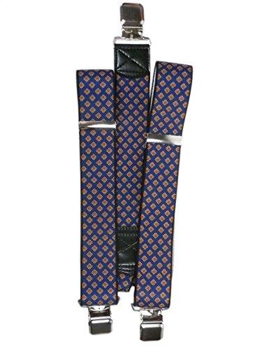 Bretelles entièrement réglable Extra Fort avec 3 Clips / Motif Imprimé - 4cm Bleu Marine avec Orange Diamants