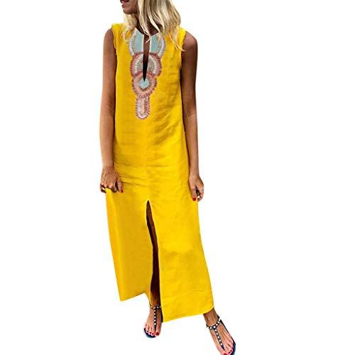 Damen Böhmischen Gedruckten Sommerkleid Freizeitkleider ärmellose V-Ausschnitt Leinen Maxi-Kleid Split Hem Baggy Kaftan Fashion Tops Leinenkleid Tuchkleid Blusenkleid X-Gelb2 M