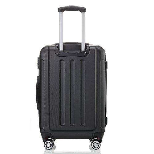 2045 Hartschale Koffer Trolley Reisekoffer einzelgröße XL-L-M in 10 Farben (L, Schwarz) - 2