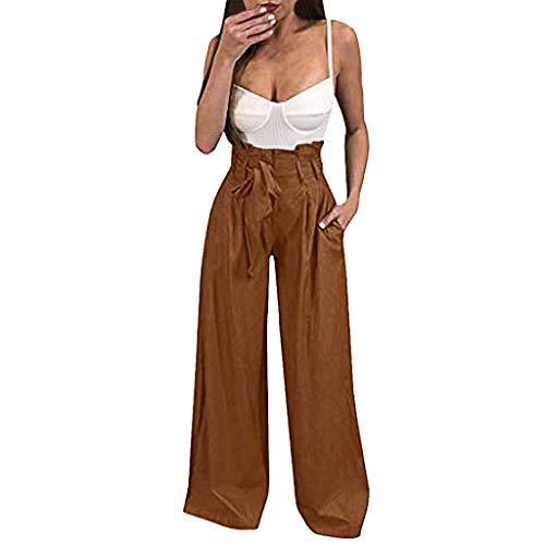 Denim-gestreifte Strumpfhose (MEIbax Damen Hohe Taillen Hosen DamenBreites Bein Schnürung Einfarbig Weite Hose Straight Jeans)