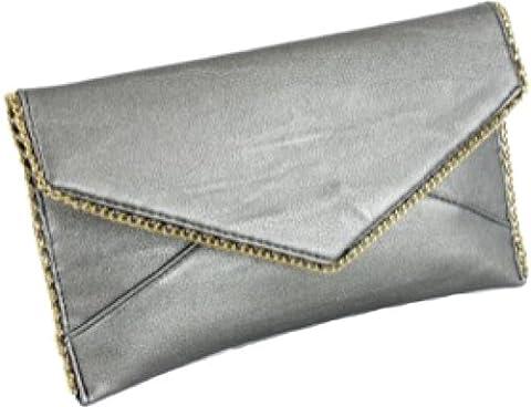 H&G Mesdames Faux cuir enveloppe embrayage \ sac de soirée avec la chaîne d'effets or