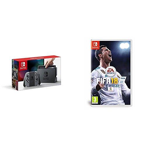 Nintendo Switch - Consola, color gris + FIFA 18 - Edición estándar