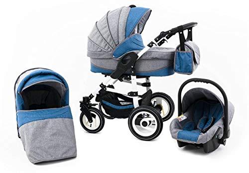 Tabbi ECO LN | 3 in 1 Kombi Kinderwagen | Hartgummireifen | Farbe: Lightblue