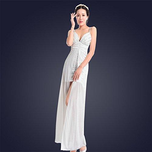 Satin Strumpfhalter Weiss Kostüm Kleid - XiaoGao ktv - bar v Langen Hals Kleid Abendkleid kostüme,XL - weiße