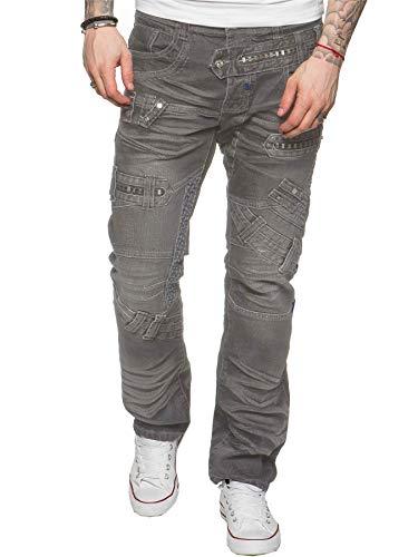 800862a3f59c9 Eto Men s Designer Regular Fit Light Blue Funky Denim Jeans Grey
