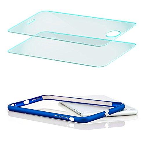 Saxonia Custodia + 2x Vetro Temperato Apple iPhone SE 5 5S Ultra Slim Custodia di alluminio Case Cover Slim Bumper Telaio del Respingente Antiurto | Alta Qualità di Protezione Sottile e Elegante Desig Blu