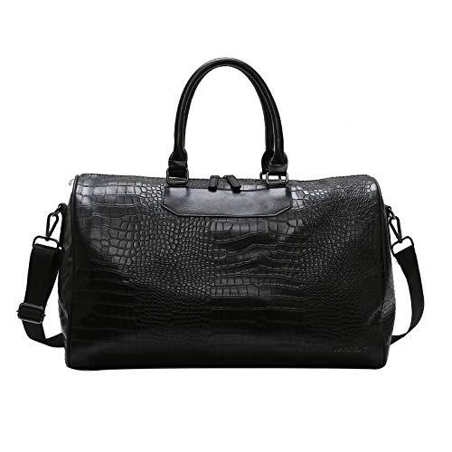 WHCREAT PU-Leder Reisetasche Sporttasche Weekender Tasche Gepäck für Dame und Herren (Schwarz)