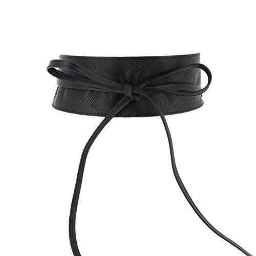 Fashiongen - Damen Obi Gürtel aus echtem Leder, CASSIANE - Schwarz, L-XL