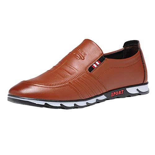 Anzugschuhe Oxford für Herren/Skxinn Herrenschuhe usiness Casual Lackleder Sneaker Hochzeit Slip on Atmungsaktiv Halbschuhe Ausverkauf(Braun,40 EU)