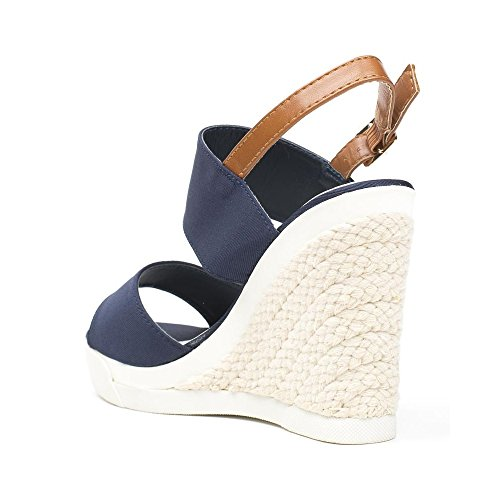 Ideal Shoes, Damen Sandalen Marine