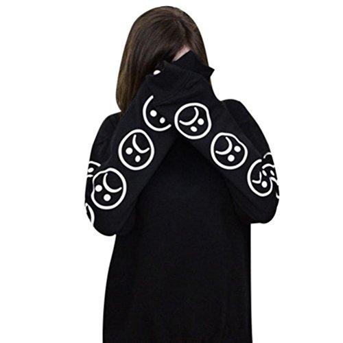 Kapuzenpullover Damen Hoodie Xinan Sweatshirt Sad Faces Emoticon Langarm Bedruckte Pullover Bluse Tops (M, Schwarz) (Top Ärmelloses Gesicht,)