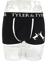 Tyler & Tyler - Boxer Homme Noir, 2 Lièvres Blanc
