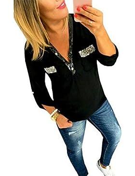 Le Donne Si Abbottoni Tasca Stalloni Scollo A V Collo Manica Lunga Camicia T - Shirt.