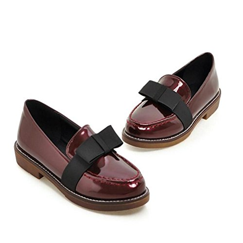 Lemon&T Cuir Printemps Automne Patent Women Round-toe multi-usage en caoutchouc Sole bowknot Chaussures plates confortables Black