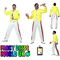 da Uomo Freddy Mercury Fancy Dress Rock Star Costume Anni 80 Wembley Live  Aiuto e casalinga d690d3806bbd