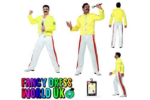 Rock Hose Mit Kostüm Star - Fancy Dress Four Less Freddy Mercury Herren Kostüm Rock Star 80er Jahre Wembley Live Aid und Hausfrau Break Free Queen