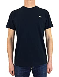 Weekend Offender Mens Ishiguro Solid Colour Badge Tee T-Shirt In Navy