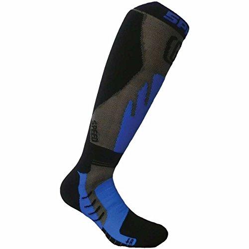 SPRING Motocross / MTB Socken - TOURING WINTER schwarz-blau: Größe Socken: 45-47