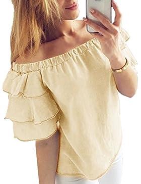 Fräulein Fox Verano Top T Shirt Mujer Ocasional Colores Lisos Camisetas Remata Tee Sexy Cuello Barco Volantes...