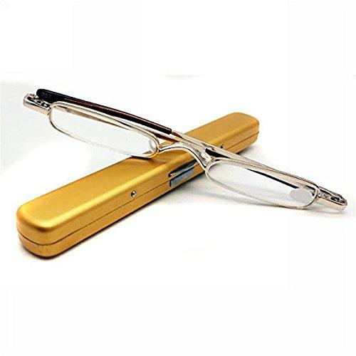 Youji 2 Packungen Ultra Thin Mini Presbyopie Brille Tragbare Mode Lesebrille + Brillenetui für Outdoor und Indoor-Aktivität