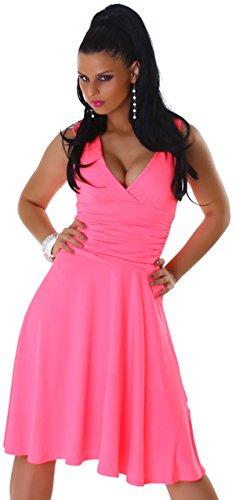 Jela london trägerkleid & élégant pour femme uni taille 32–36 rose fluo