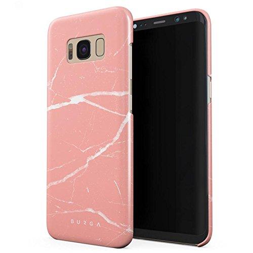 Samsung Galaxy S8 Hülle, BURGA Pfirsich Marmor Pink Rosa Licht Farbig Bunt Marble Dünn, Robuste Rückschale aus Kunststoff Für Samsung Galaxy S8 Handyhülle Schutz Case Cover (Coral Farbige Taste)