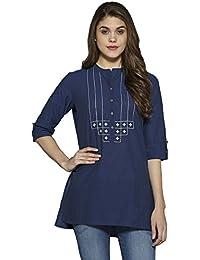 Aahwan Women's Solid Cotton Short Straight Embroidered Kurti Kurta Tunic Top (AC-Star)
