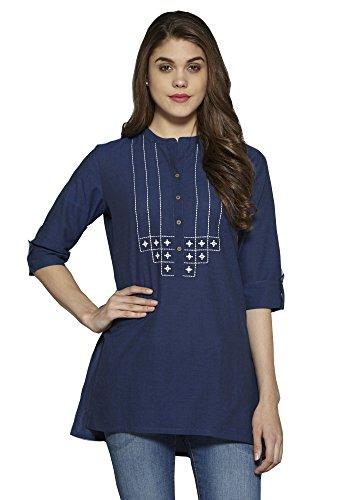 Aahwan Women's Blue Solid Cotton Short Straight Embroidered Kurti Kurta Tunic Top...