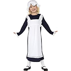 Smiffys Disfraz de chica pobre victoriana, Blanca, con vestido con delantal y gorro de v
