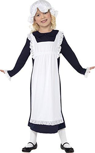 Smiffys Kinder Viktorianisches Armes Mädchen Kostüm, Kleid mit Schürze und Mütze, Größe: M, (Mädchen Kostüme Armee Dress Uk Fancy)