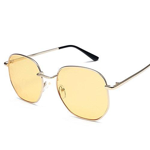 Sunyan Sonnenbrille, South Korea's Elegante Sonnenbrille, runde Gesichter, goldene Rahmen Night Vision Tabletten