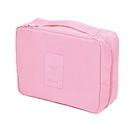 Incendemme Trousse/Sac de toilette Homme Femme Portable, Trousse Maquillage, Trousse de Voyage, Grand Capacite, Multi Poches,Simple Et Legere (Rose legere)