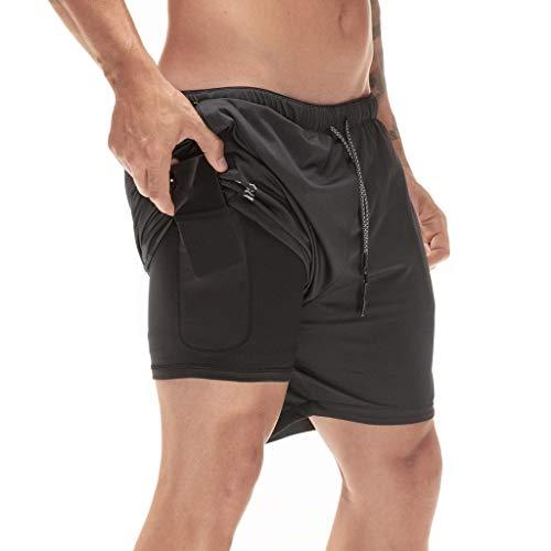 Sport Shorts Herren Sommer Strand Sea Surfen Kurze Hose Boxing Bermuda Running Fitness Gym Lightweight Training Shorts,Qmber Sports Shorts schlank einfarbig/Schwarz,L -