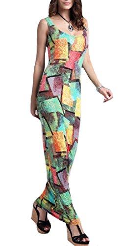 CuteRose Women Cami Sling Sleeveless Casual Beach Wedding Long Dresses M Green Beige Cam Cover