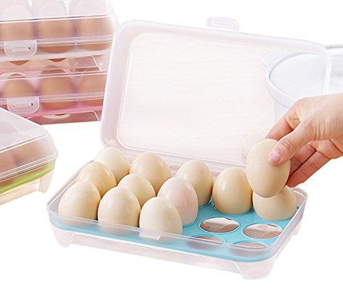 e-meoly tragbar groß Kapazität Kunststoff Ei Container FASST 15Eier Bruchfest rutschfeste Eier Halterung für Picknick und Kühlschrank grün
