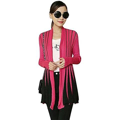 Prenda de Punto Top de Cárdigan Sweater Jerséi Colour Block Con Rayas Pliegues Plisado Con Diseño Sombreado