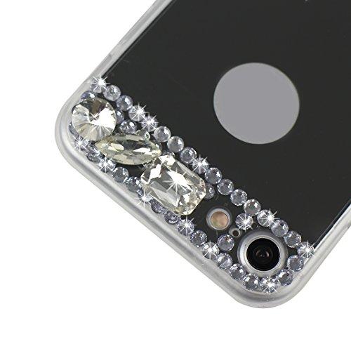 Coque iPhone 7/8 Miroir Bling, Moon mood® Coloré Rhinestones Diamant Silicone Souple Étui iPhone 8 protection Housse Cas de Téléphone Flex Gel Doux TPU Bumper Anti Scratch Coquille Glitter Briller Coq Noir