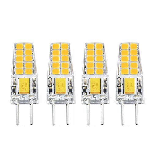 Gy6.35 Bi-pin (3W G6.35 LED Warmweiß 3000K Birne Glühlampe AC/DC 12V Bi pin JC Typ GY6.35 T3/T4/T5 Glühbirne für Schreibtischlampe Accent Display Landschaftsbeleuchtung (4-Stück))