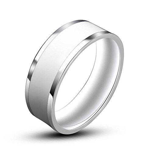 Beydodo Punk Herren-Ring Titan Silber Weiß Kreis Rund Breite 7 MM Freundschaftsringe Gothic Ringe Männer Größe 60 - Kostüm Schmuck Und Verlobungsringe