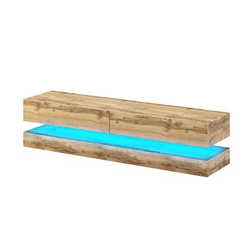 fernsehschrank holz Aviator – TV-Board in Schwebeoptik/TV-Hängeschrank/Fernsehschrank (140 cm, Sonoma Eiche matt mit LED blau)