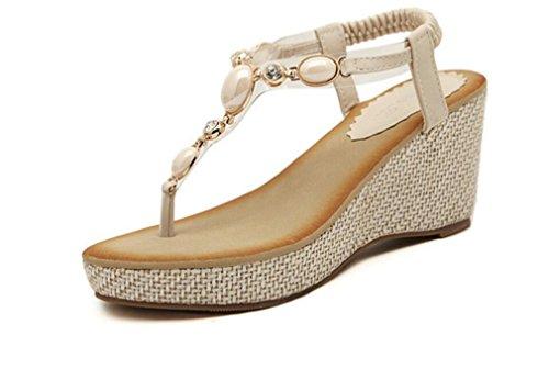 SHUNLIU Damen Keilabsatz Sandalen Böhmische Diamanten Perlen mit Strass Flip Flops Römer Damen Sommersandalen T-Strap Weiß