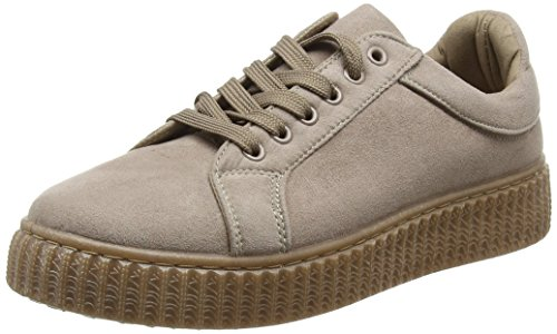 Boohoo Rose Lace Up Chunky Sole Trainer, Baskets Basses Femme, Beige (Stone), 37 EU ( 4 UK )